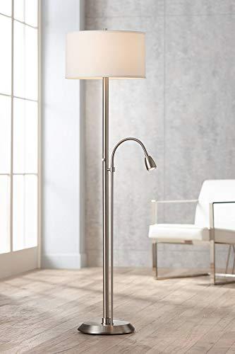 (Traverse Modern Floor Lamp with Reading Light LED Gooseneck Brushed Nickel White Sandstone Linen Drum Shade for Living Room Bedroom Office - Possini Euro Design)