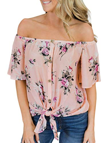 - CILKOO Womens Spring Flower Print Off The Shoulder Slash Neck Tops Button Down Chiffon Blouse T-Shirt Blouses Pink US12-14 Large