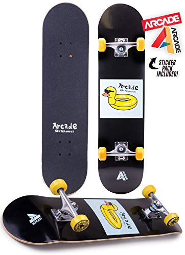 "Arcade Pro Skateboard 31"" Standard Complete Skateboards Professional Complete Board w/Concave - Skate Boards Great for Beginners, Adults, Teens, Youth & Kids (7.75"" Duck Float)"
