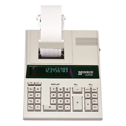 Monroe 122Pdx Medium Duty 12 Digit Print Display Calculator With The Fastest Printing Speed