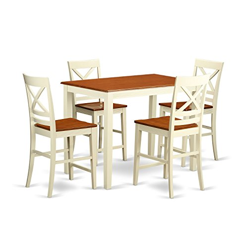 Cherry Veneer Pub Swivel Stool - East West Furniture YAQU5-WHI-W 5 Piece Counter Height High Table and 4 Kitchen Chairs Set