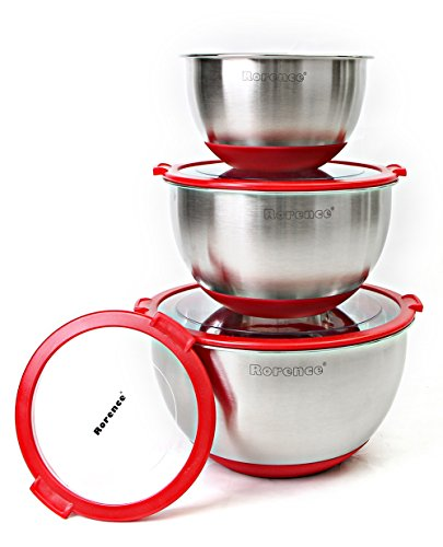 Rorence Stainless Steel Non-Slip Mixing Bowls Set of 3 with Transparent Lids - Red