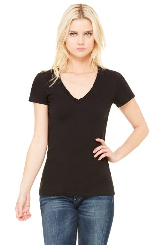 Bella Damen kurzärmeliges Jersey T-Shirt mit tiefem V-Ausschnitt schwarz Gr. L