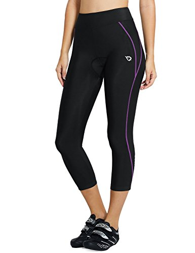 Baleaf Women's 3D Padded UPF 50+ 3/4 Cycling Compression Tights Capris with Pocket Purple Line Size L
