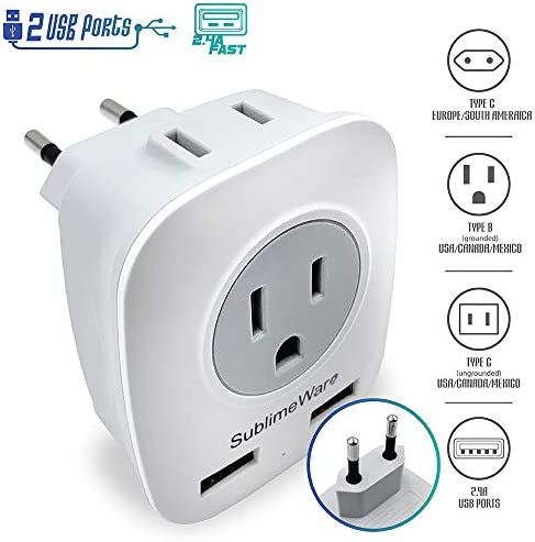 European Power Adapter Ports Outlets product image