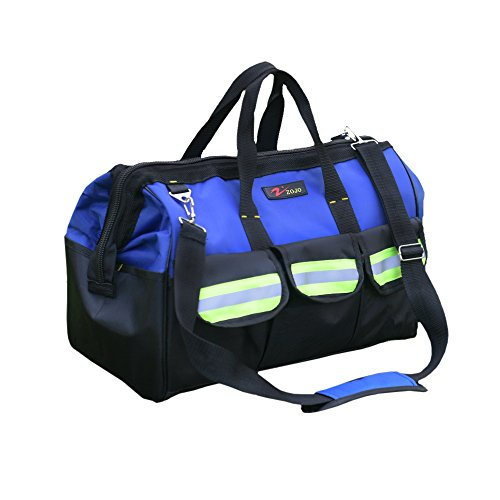 ZOJO Blue Reflective Tool Bags For Men 16 inch Wide Mouth 18 tool pockets