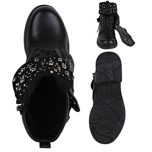 Stiefelparadies Damen Stiefeletten Biker Boots Nieten Cut Outs Leder-Optik Schuhe Flandell Schwarz Amares