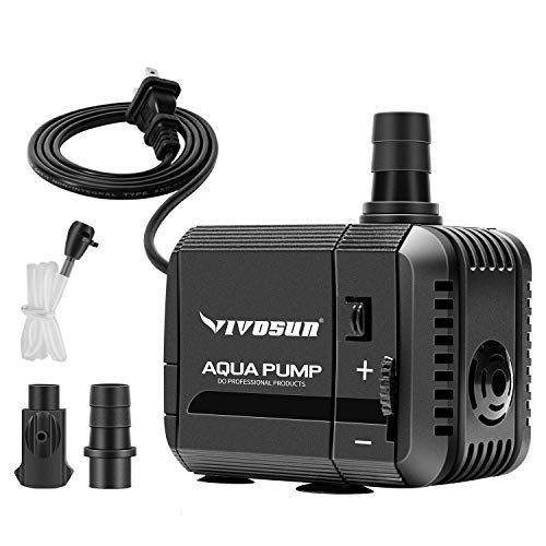 (VIVOSUN 130GPH Submersible Pump(500L/H, 6W), Ultra Quiet Water Pump with 2.6ft High Lift, Fountain Pump with 5ft Power Cord, 2 Nozzles for Fish Tank, Pond, Aquarium, Statuary, Hydroponics)
