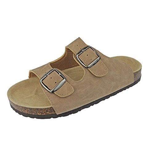 OUTWOODS Women's Bork-46 Vegan Leather Adjustable Double-Strap Slip-On Sandals,Taupe,10