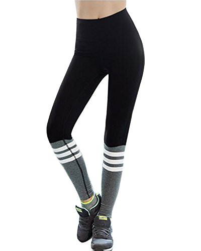 SUNNYME Women's Leggings Yoga Pants High Waist Stretch Workout Running Fitness Tights Black L