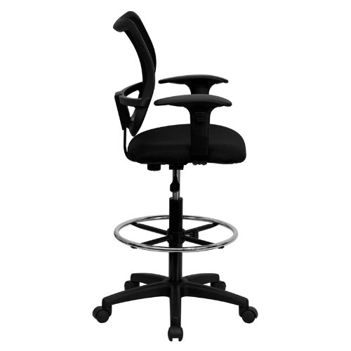 Flash Furniture WL-A277-BK-AD-GG MidBack Mesh Drafting Chair with Fabric Seat and Height Adjustable Arms, Black