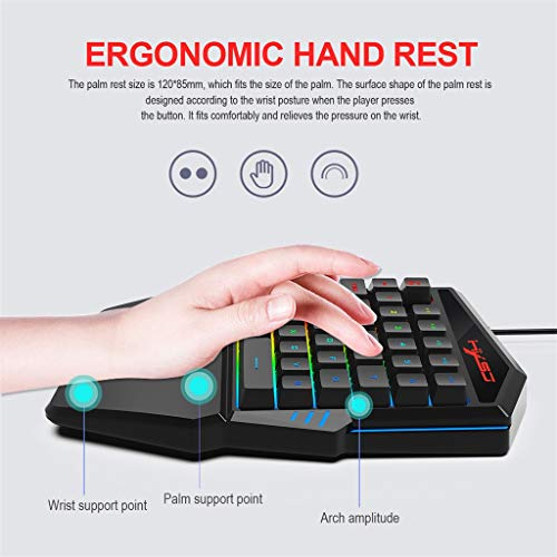 Basde Keyboard, One-Handed Mini Gaming Keypad 35 Keys, 9 LED Backlit USB Wired Mechanical Gaming Keyboard, for LOL/PUBG/Wow/Dota/OW/Fps Game