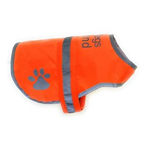 Dog Safety Reflective Vest 5 Sizes to fit dogs 10 lbs -130 lbs : High Visibility for Outdoor Activity Day and Night, Keep Your Dog Visible, Safe From Cars & Hunting Accidents | Blaze Orange vest 62