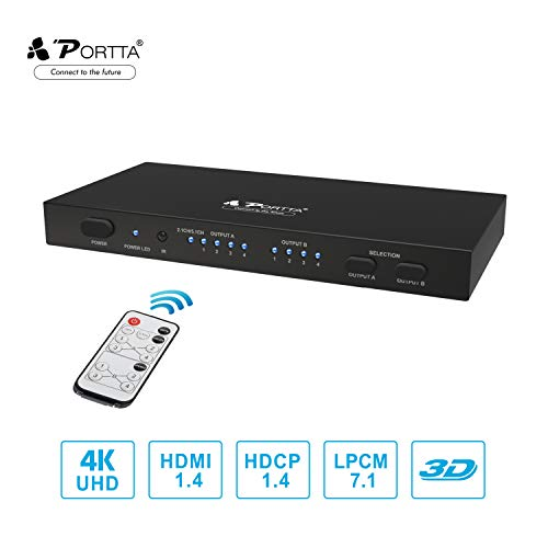 Matrix A/v Switcher (Portta 4x2 HDMI Matrix/Switch/Splitter with Remote Audio CH2.0/CH5.1 SPDIF L/R 3.5mm HDMI Audio Extractor V1.4 Support Ultra HD 4Kx2K@30Hz Full 3D for PS3 /PS4/XBOX360/DVD Player/Notebook)