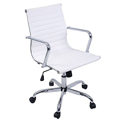 Giantex Modern PU Leather Ergonomic Mid Back Office Chair Executive Computer Desk (Mid Back, White)