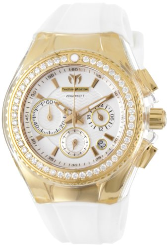TechnoMarine Women's 111007 Cruise Original Star Chronograph Diamond White Silicone ()