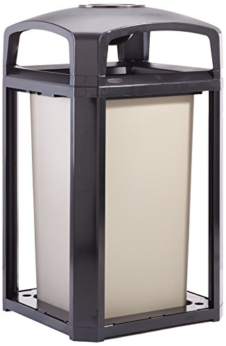 Rubbermaid Commercial Landmark Dome Top Trash Can Frame and Liner with Ash Tray, 50-Gallon, Black by Rubbermaid Commercial Products