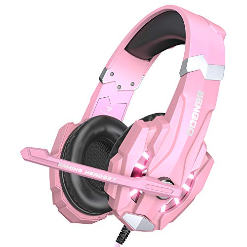 BENGOO G9000 Stereo Gaming Headset for PS4, PC, Xbox One Controller, Noise Cancelling Over Ear Headphones with Mic, LED Light, Bass Surround, Soft Memory Earmuffs (Pink) from BENGOO
