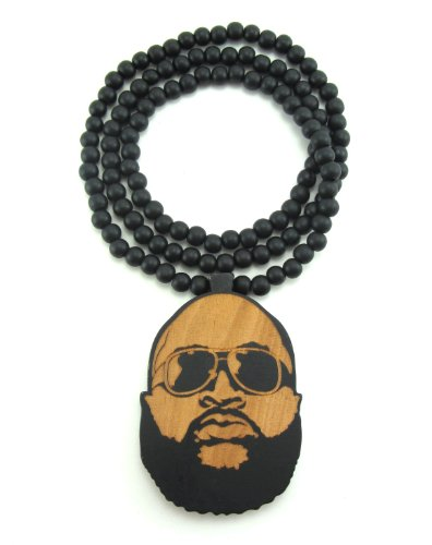 (Large Wooden Rick Ross Face Pendant Bead Chain Necklace ALL GOOD WOOD STYLE! two-toned)