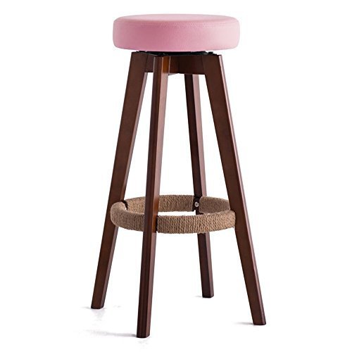 Wooden Rotate Seat Round Chair High Stool Bar Kitchen Breakfast Stool Nordic Simple Style Pink ( Color : #2 , Size : 45cm45cm65.5cm ) by LPZ-STOOL