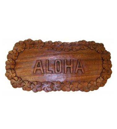 "Hawaii Aloha Plumeria Lei 14.5"" L x 7"" W Monkeypod Wood Decorative Wall Plaque by Happy Aloha"