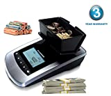 AccuBANKER Bill and Coin Counter MS10 2 in 1 Portable Money Scale Multi-Currency USD - CAD - EUR Counts both Rolled Coins and Strapped Bills with Value Count Function For a Selected Denomination