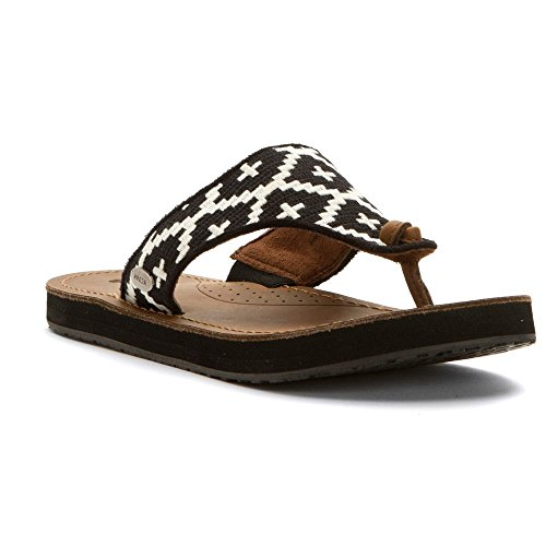 Flip Women's cream Acorn Leather Sandal Southwest Black Artwalk 47yEw1qT