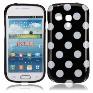 Polka Dots TPU Case for Samsung i8190 Black White Dot