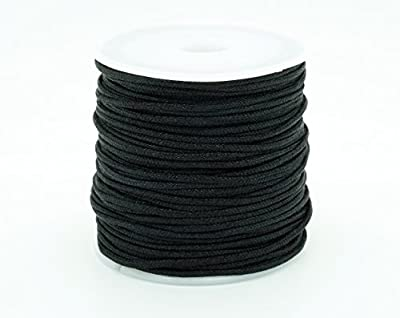 BLACK 1.5mm Chinese Knot Nylon Braided Cord Shamballa Macrame Beading Kumihimo String (25yards Spool)