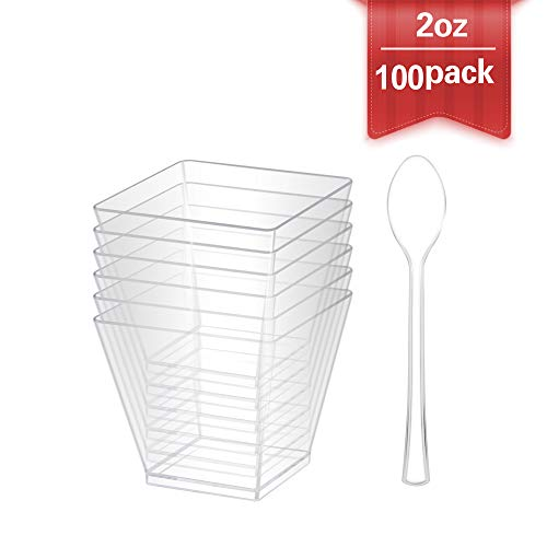 100x2 2oz Mini Clear Dessert Cup-Disposable Plastic Square Cube For Parfaits Puddings Tiramisu Mousse Ice cream Dessert Buffet shooter