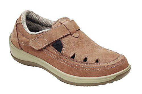 (Orthofeet Serene Womens Comfort Orthopedic Wide Arthritis Diabetic T-Strap Shoes Tan Leather 9.5 XW US)