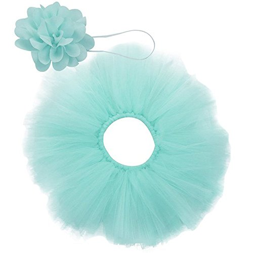 CX-Queen Baby Photography Prop Girl Blossom Tutu Set With Flower Headband, 0-6 months, Aqua