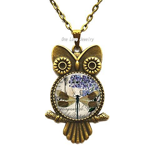 (Ni36uo0qitian0ozaap Dragonfly Ephemera Springtime Owl Necklace Glass Photo Jewelry Round Glass Pendant)