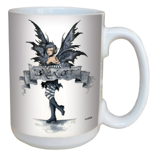 Tree-Free Greetings lm43538 Edgy Back-Off Fairy Ceramic Mug with Full Sized Handle by Amy Brown, 15-Ounce