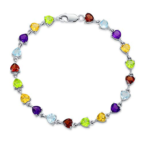 Heart Shaped Multi Colorful Natural Gemstone Tennis Bracelet For Women For Girlfriend 925 Sterling Silver 7 Inch