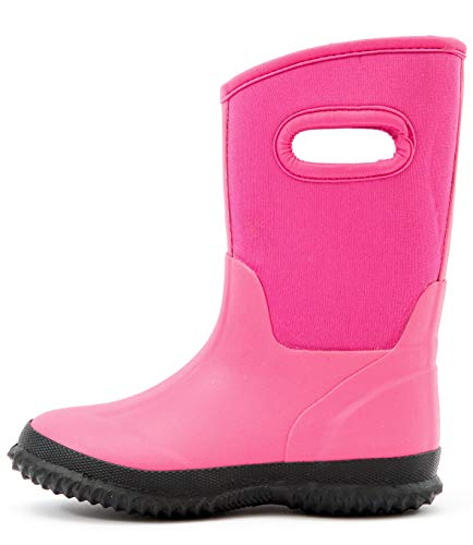 Outee Toddler Kids Girls Snow Winter Neoprene Boots Rubber Rain Boots Waterproof Outdoor Shoes Thermal Memory Foam Comfortable Easy On and Off (Size 5,Pink) ()
