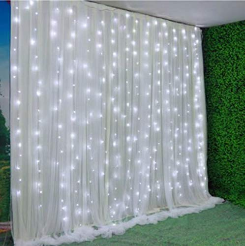 13' Wide x 10' high Indoor Gauze Romantic LED Lights with Double Layers Party Backdrop Window Curtain White
