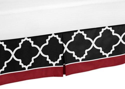 Sweet Jojo Designs Toddler Bed Skirt for Red Black and White Trellis Print Kids Childrens Lattice Bedding Sets