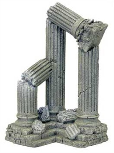 Blue Ribbon Pet Products Resin Aquarium Ornament - Three Column Ruins Corner Section, 9 L x 6.5 D x 11 H Inch