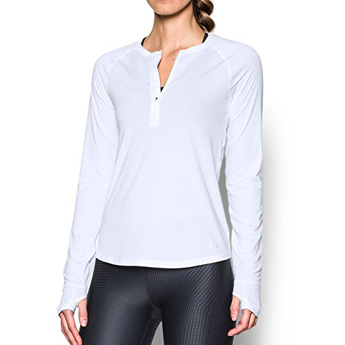 Under Armour Women's Fly-By 1/2 Zip, White /Reflective, (Sleeveless Half Zip Top)