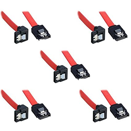 compatible up to S-ATA//600 Serial ATA 40cm 1 Pack Sata 3 Data Cable Bipra SATA III SATA 3 cable Red with Locking Latch straight to Right Angle 90 Degree