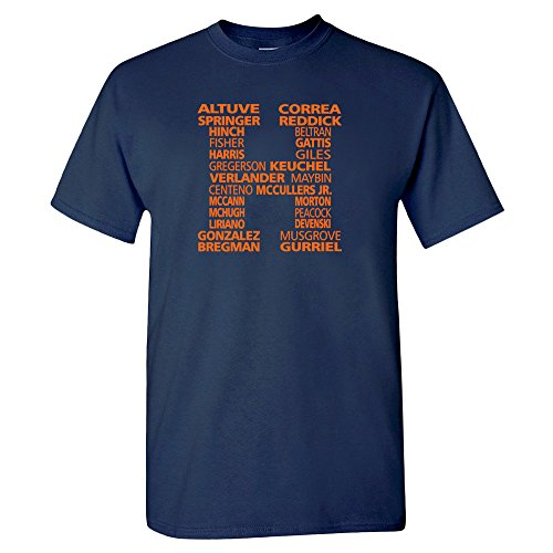 Houston H-Town WS Roster Baseball Fan Shirt (Navy, XL)