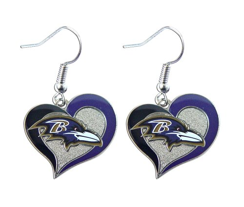 NFL Baltimore Ravens Swirl Heart Earrings
