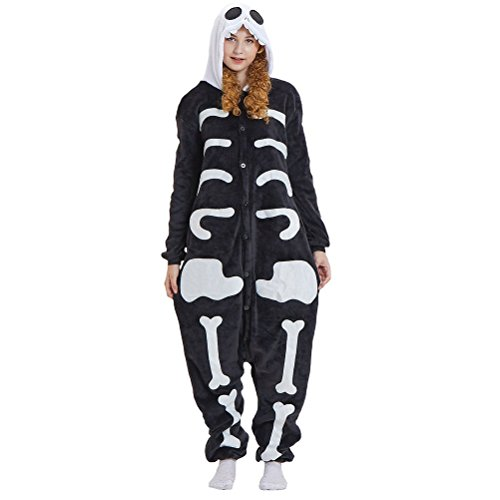 Asanomio Unisex Adult Pajamas - Plush One Piece Cosplay Skeleton Animal -