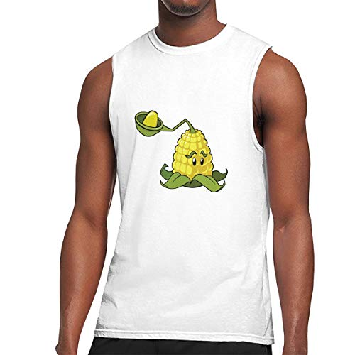 White Shooter Sleeveless T-shirt - Top Tock Shirt Plants Vs Zombies Peashooter Mens Workout Sleeveless Tank Top T-Shirt White