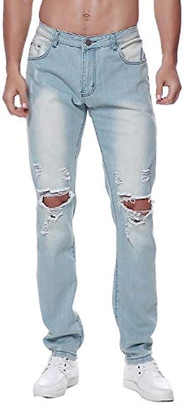 Previn Męskie Ripped Denim Jeans Distressed Slim Hose Destroy Holes Stretch Biker Pants: Odzież
