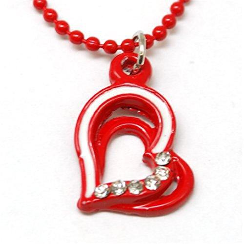 FJ178 - Pendentif pour Enfant en Forme de Coeur Rouge sur une Chaîne Boules de 40cm
