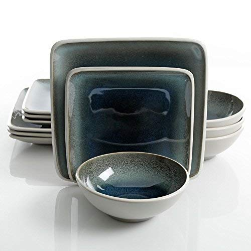 Gibson Elite Namastay 12 Piece Dinnerware Set, Blue