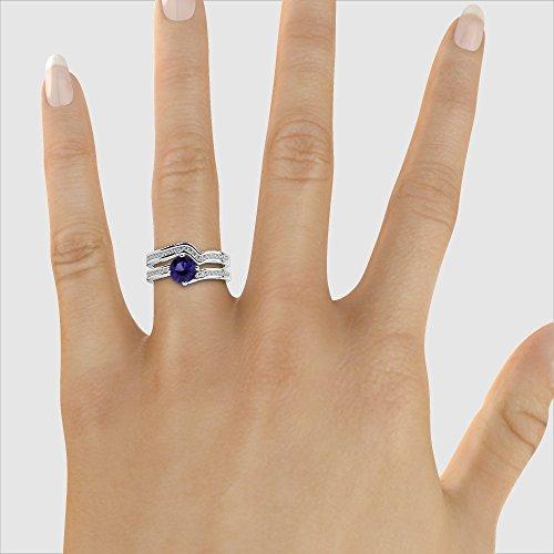 Or blanc 18carats 1CT G-H/VS Certifié Coupe ronde tanzanite et diamants Mariage Bague de fiançailles et ensemble de Agdr-2005