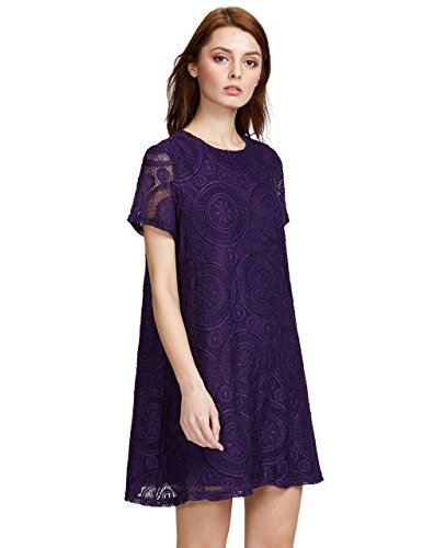 Romwe Women's Short Sleeve Summer Lace Wide Hem Dress Dark Purple XL